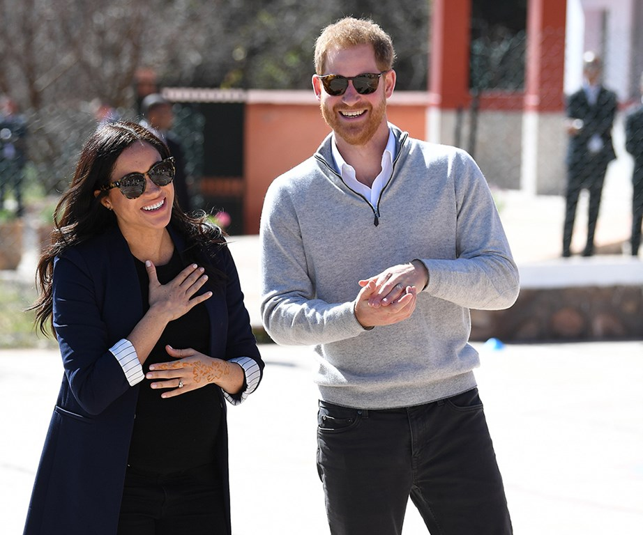 Meghan and Harry during a royal tour of Morocco in February. *(Image: Getty)*