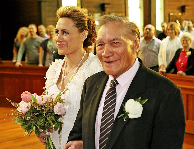 In 2015, Jenny-May's father Te Waka walked her down the aisle.