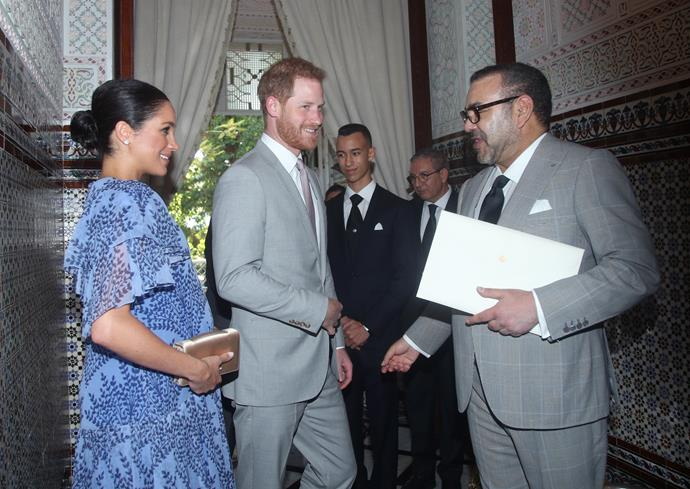 The Duke and Duchess of Sussex meet King Mohammed VI of Morocco. *(Image: Getty)*
