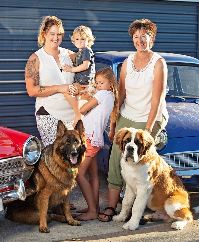 Brittany, Jeydin, Paige and Rebecca, with pets Axel the German Shepherd, Sweet-He the rabbit and St Bernard Bentley, all made it out safely.