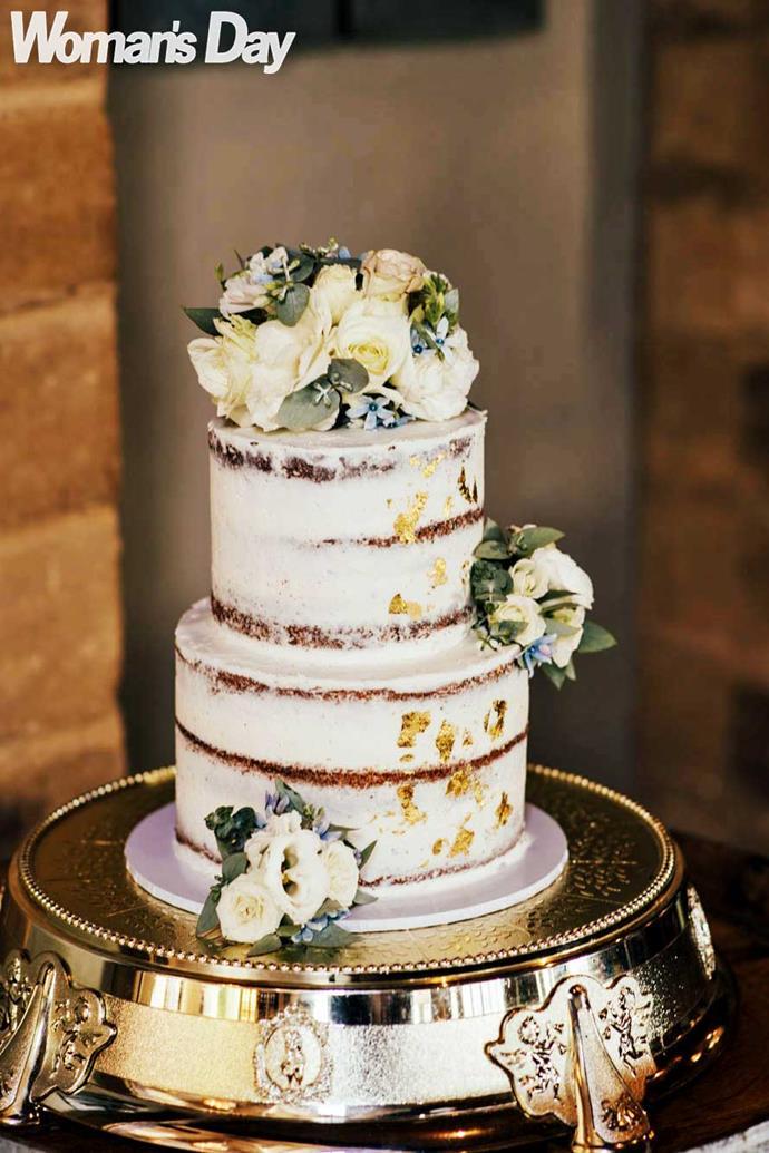 The three-tier showpiece was made by Waiheke Island's resident cake maker, Daniela Demartini. *Photo: Libby Robinson*
