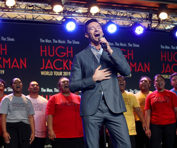 Hugh Jackman says he intentionally chose to host the press conference at AUT's Manukau campus after seeing a video of students singing there that moved him to tears. *(Image: Getty)*