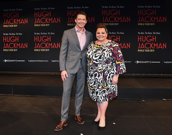 Hugh Jackman and Keala Settle in Sydney earlier this week to announce the tour dates for their Australian leg of the world tour. *(Image: Getty)*