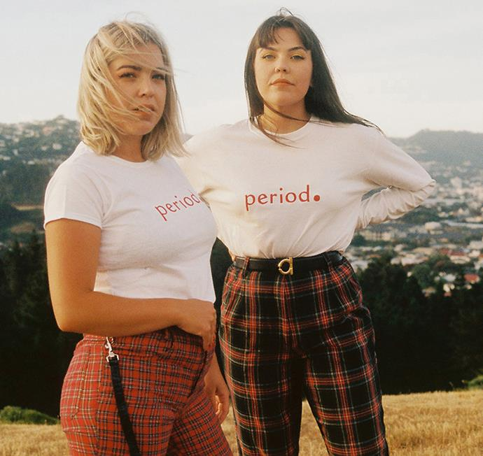 Brittany (left) and Johanna Cosgrove of Nope Sisters in their 'period.' T-shirts, which help to raise funds for period poverty, while breaking down period taboos.