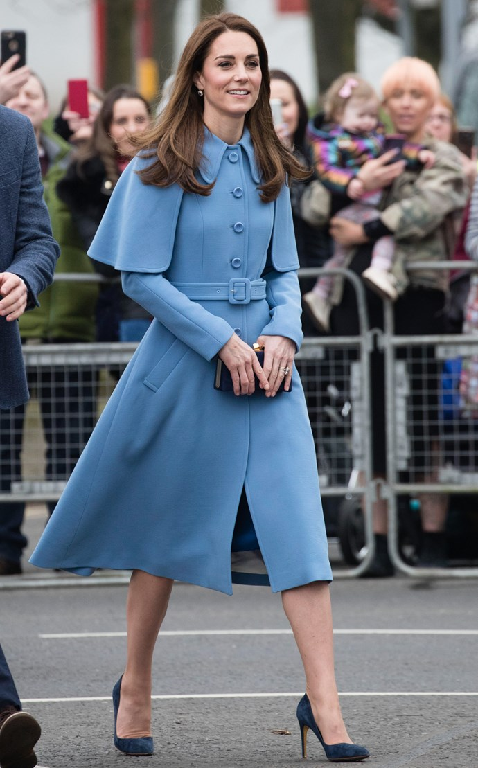 The Duchess of Cambridge looked gorgeous in blue during a walkabout in Ballymena, Northern Ireland. *(Image: Getty)*