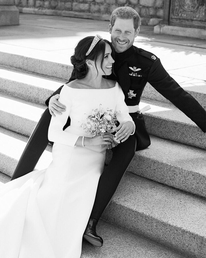 "**The Duchess of Sussex, 19 May 2018** <br><br> Duchess Meghan married Prince Harry at St George's Chapel on May 19, 2018 wearing a beautiful gown designed by British designer Claire Waight Keller for French fashion house Givenchy. <br><br> The dress was made from double bonded silk cady featuring off the shoulder long sleeves. <br><br> As a special touch, Meghan had requested to have all [53 countries of the Commonwealth](https://www.royal.uk/wedding-dresses?ch=18#bio-section-17|target=""_blank""
