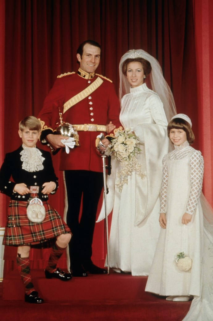 "**Princess Anne, 14 November 1973** <br><br> For her first marriage held at Westminster Abbey to Captain Mark Phillips, the Princess Royal opted for an Elizabethan-style gown [designed by Maureen Baker](http://royalcentral.co.uk/blogs/the-wedding-dresses-of-princess-anne-101962|target=""_blank""