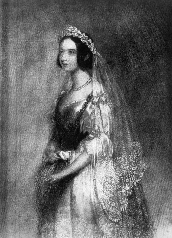 **Queen Victoria, 10 February 1840** <br><br> Queen Victoria married Prince Albert on February 10, 1840 at the Chapel Royal at St James' Palace, only the second Queen regnant to marry after her accession to the throne - the first was Queen Mary I of England.   <br><br> Her dress was made from white satin with Honiton lace and she wore a large sapphire and diamond brooch, gifted to her as a wedding present from Prince Albert. <br><br> She broke tradition by wearing a wreath of orange blossom with a lace veil, rather than a crown or tiara and it is thanks to Queen Victoria that the white wedding dress has become part of wedding tradition in the western world.