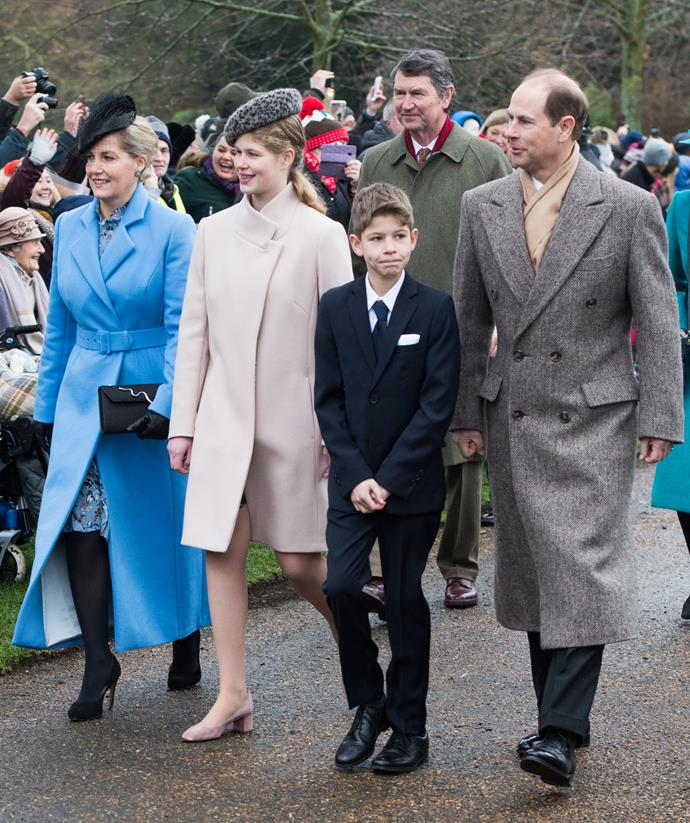 Prince Edward with his wife Countess Sophie of Wessex and his two children Lady Louise and James, Viscount Severn attending a Christmas Day Church service in 2018. *(Image: Getty)*
