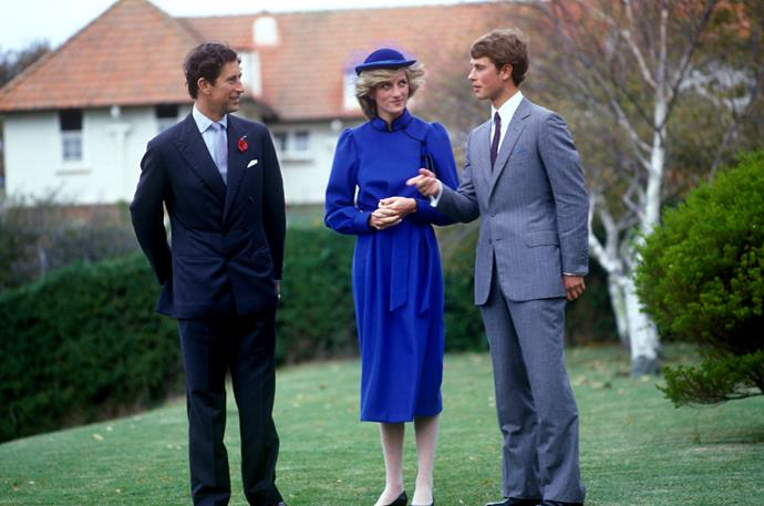 Prince Edward greets his brother Prince Charles and sister-in-law Princess Diana in April 1983 on the grounds of Whanganui Collegiate in Whanganui, New Zealand where he worked as a tutor. *(Image: Getty)*