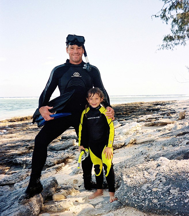 Steve and a young Bindi on Lady Elliott Island *Image: Australia Zoo Archives*