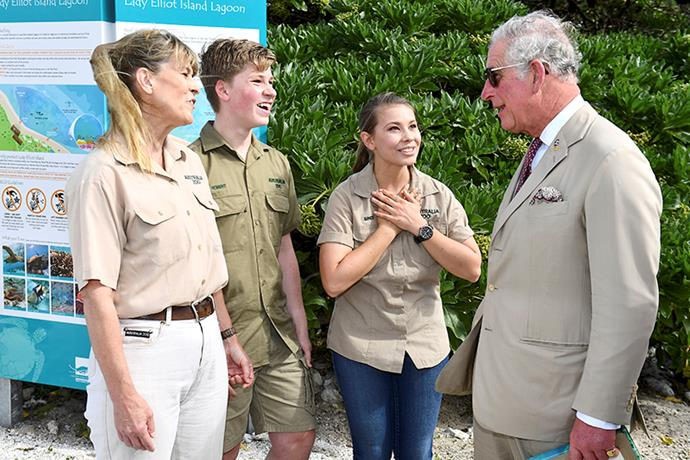 The family meets Prince Charles during his visit to the island in April 2018. *Image: Getty Images*