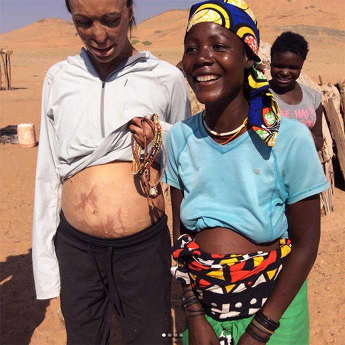 Turia met members of the Himba tribe while on holiday in Namibia.