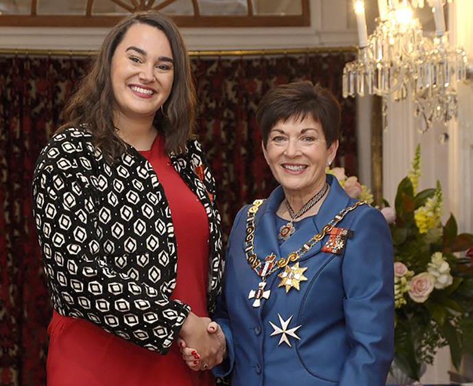 Kristina with Governor General Dame Patsy Reddy in 2018 after receiving her MNZM honour.