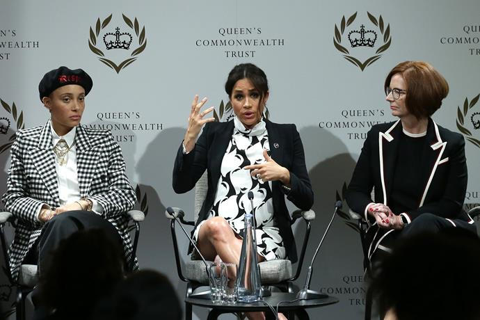 Duchess Meghan with British model and activist Adwoa Aboah and former Australian prime minister Julia Gillard at a panel discussion on International Women's Day. *(Image: Getty)*