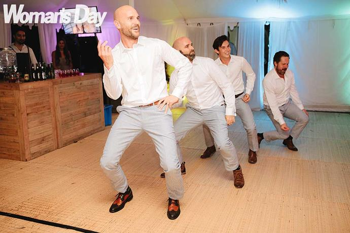 The boys bust some moves before Ben hits the floor with his bride.