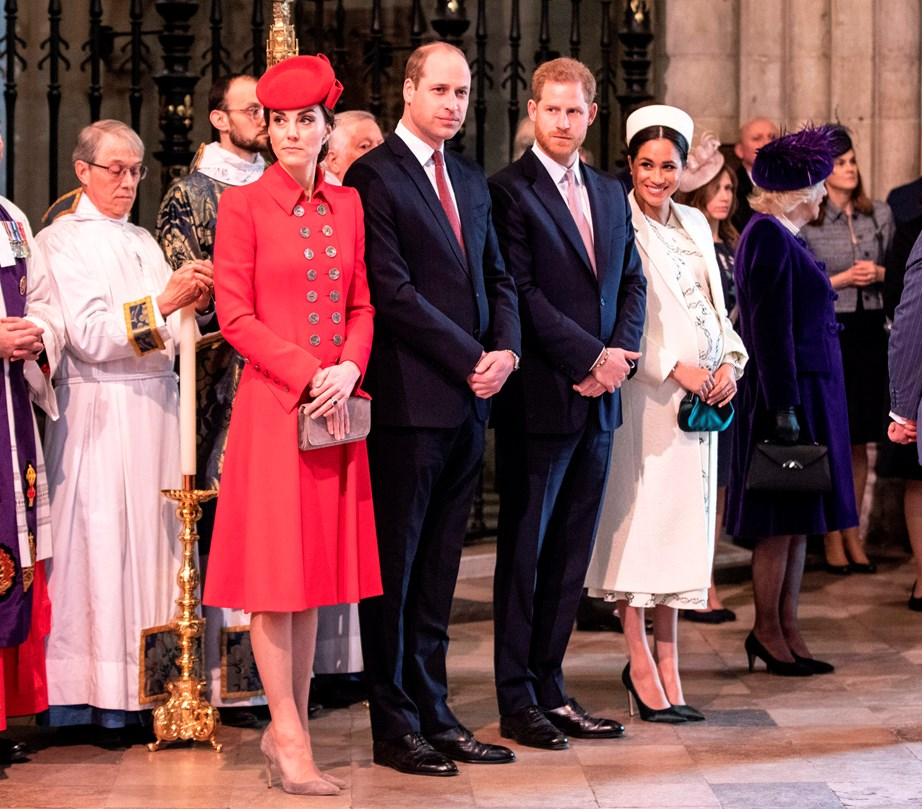 The Duke and Duchess of Cambridge and Duke and Duchess of Sussex at last year's Commonwealth Day service. *(Image: Getty)*