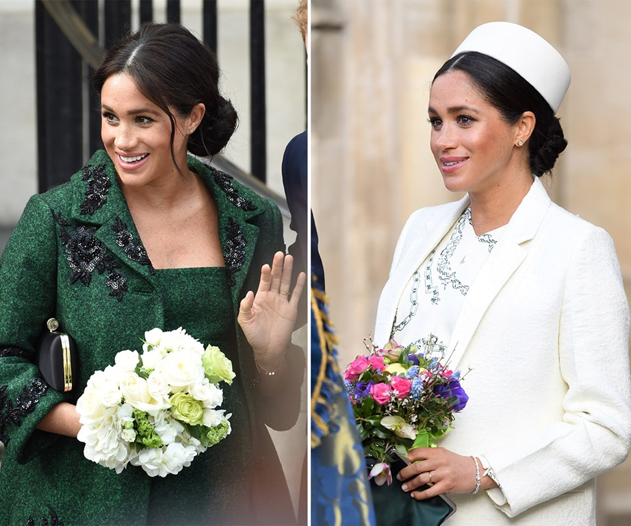 The glowing heavily-pregnant Duchess opted for a gorgeous green Erdem dress and coat and chic white dress by Victoria Beckham for her two royal engagements on Commonwealth Day. *(Images: Getty)*