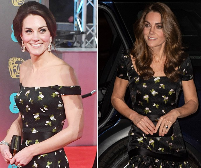 Kate re-worked her gorgeous 2017 BAFTAs gown, by changing up the sleeves, and we love it! *(Images: Getty)*