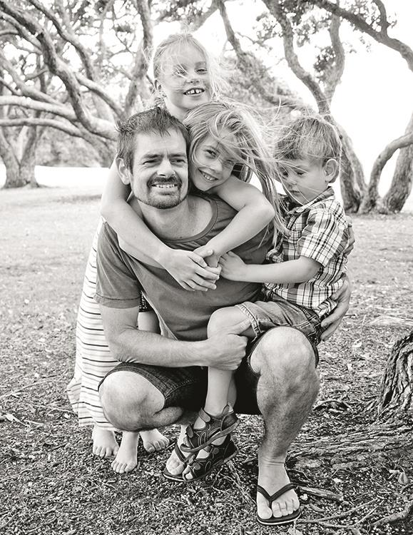 Andy and the kids just after he was diagnosed.