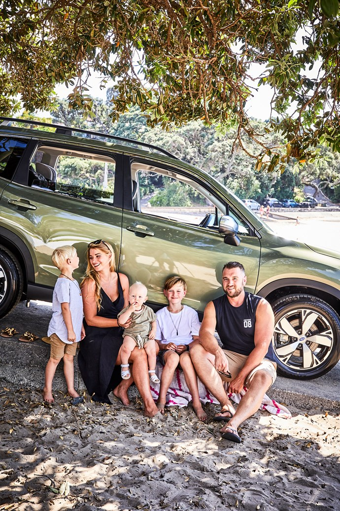 Tarryn Donaldson with husband Ryan and their kids Kylan, Arden and baby Millen.
