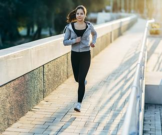 brunette woman running