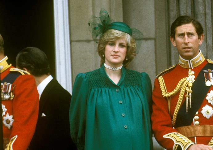 **Princess Diana, 1982**  Princess Diana looked as elegant as ever in a matching emerald outfit while she was pregnant with her first child Prince William. *(Image: Getty)*