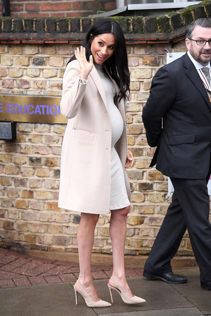 **Duchess Meghan, 2019**  And then, who could forget the Duchess of Sussex, who is currently pregnant with her first child. Wowing everyone with her amazing maternity style - like this head-to-toe beige look we couldn't get enough of. We can't wait for the arrival of Baby Sussex! *(Image: Getty)*