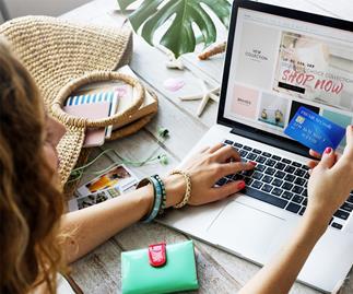 Online shopping on laptop
