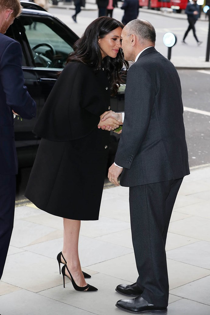 UK High Commissioner Sir Jerry Mateparae greeted Meghan and Harry with a hongi as they arrived at New Zealand House in London. *(Image: Getty)*