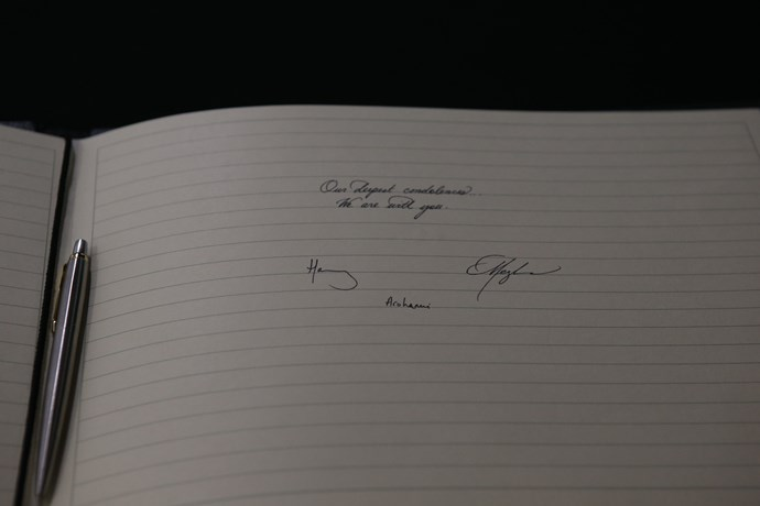 The Duke and Duchess of Sussex left a message of condolence at New Zealand House in London. *(Image: Getty)*