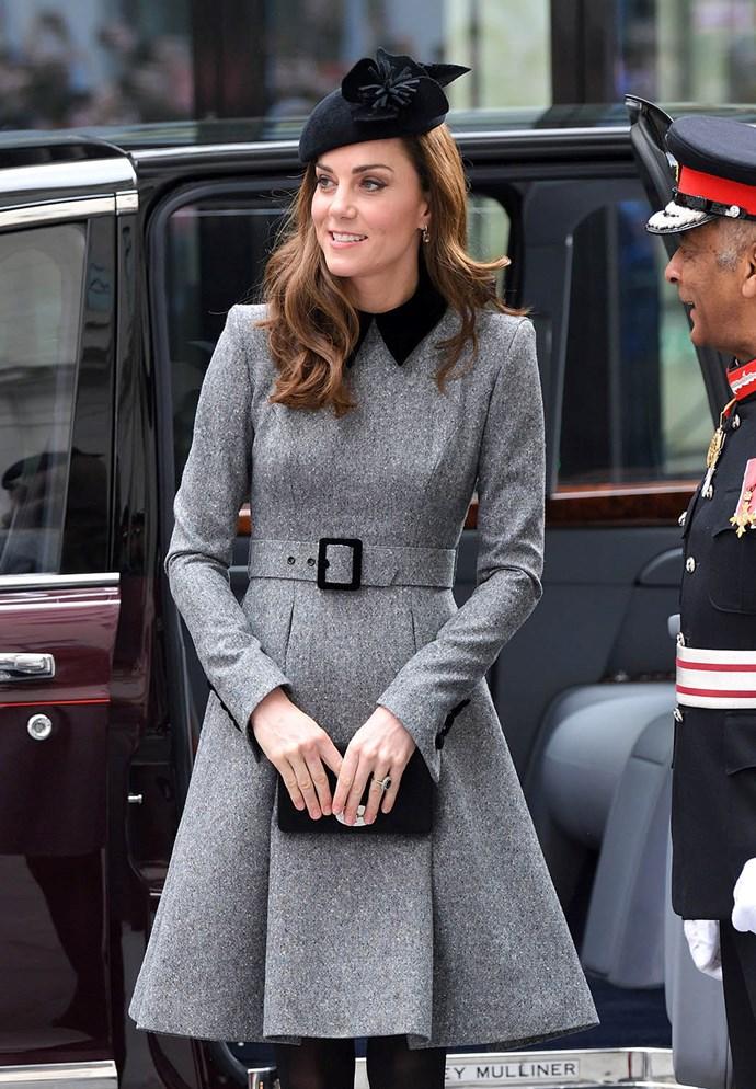 Kate looked elegant in a grey Catherine Walker coat dress. *(Image: Getty)*