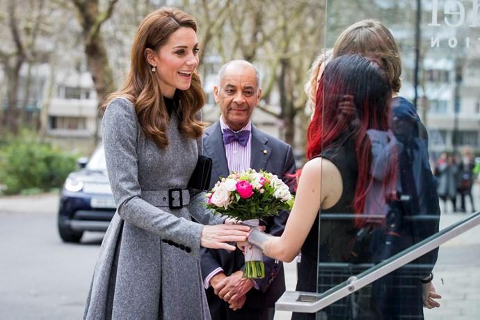 Following the announcement earlier that day that Kate had been made patron of Foundling Museum, the Duchess visited the museum in the afternoon, to hear about the great work they're doing to support vulnerable families. *(Image: Getty)*