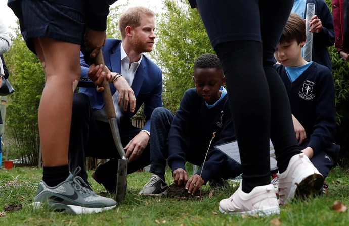 The prince's visit to the primary school was in support of the Queen's Commonwealth Canopy. *(Image: Getty)*