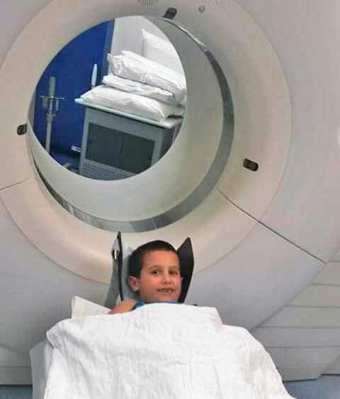 The MRI that picked up the tumour in 2016.