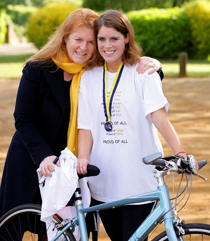 "Eugenie was all smiles after completing the [Nightrider 64 mile charity bike ride in 2012](https://www.hellomagazine.com/royalty/201206118287/eugenie-cycle-charity-sarah-ferguson/|target=""_blank""). Cycling over 100km, the circuit passed more than 50 of London's most famous landmarks. The princess raised £9,000 (NZD $17,150) for the Royal National Orthopaedic Hospital. *(Image: Getty)*"