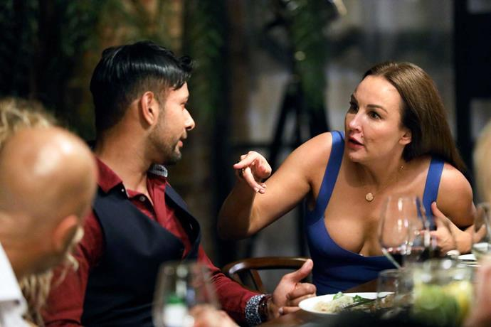 Melissa gives Dino an earful at the dinner party.