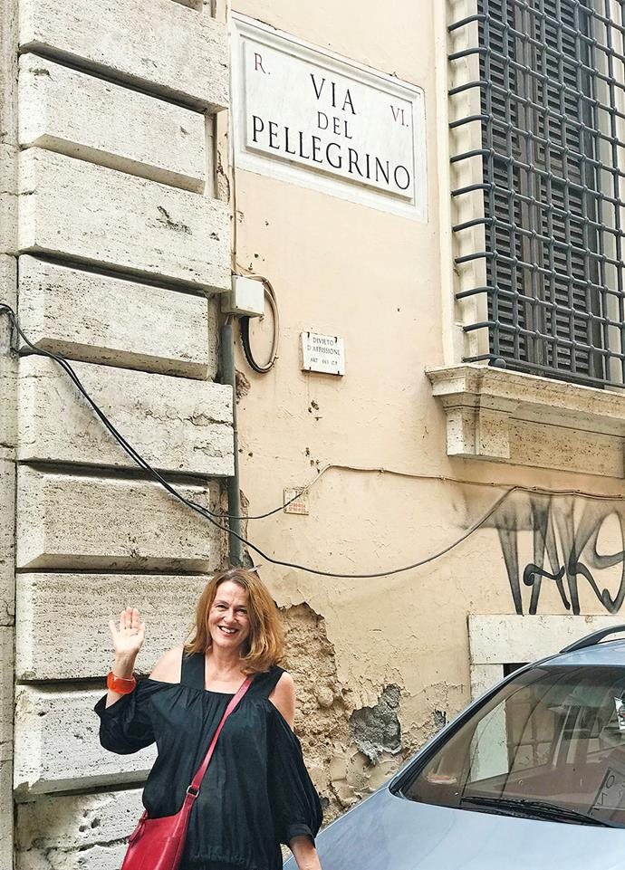 Nicky was delighted to find a familiar name along a street in Rome.