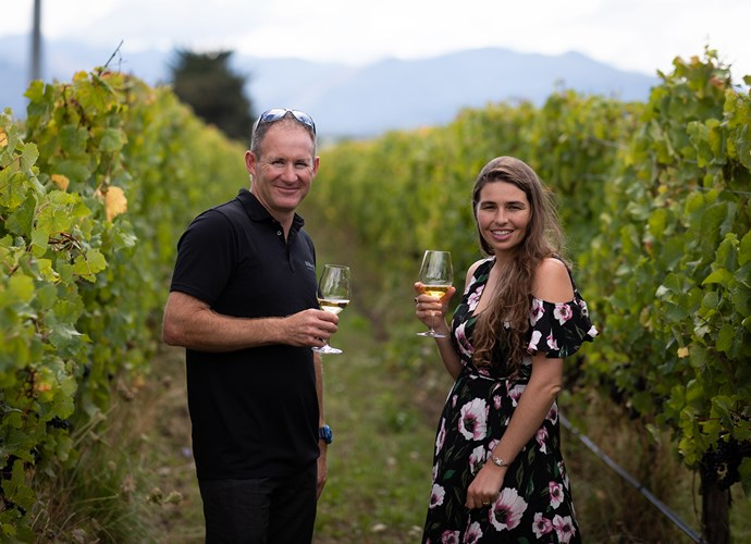 Head winemaker Matt Large with *Nadia's* Fiona Ralph