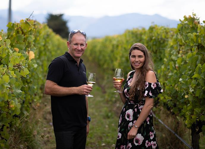 Head winemaker Matt Large with *Nadia's* Fiona Ralph
