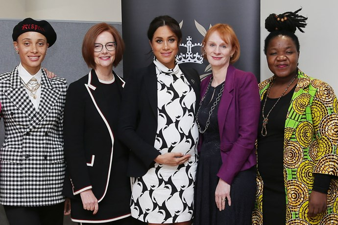Meghan with the panel at the Queen's Commonwealth Trust International Women's Day panel. *(Image: Getty)*