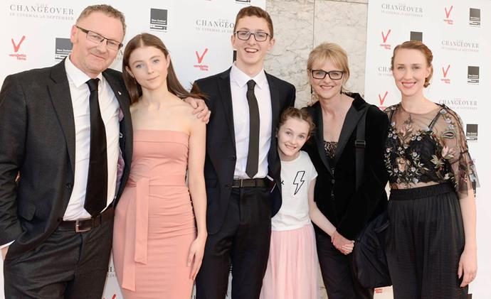 Miranda and Stuart with their children, from left, Thomasin,  Peter, Davida and Sara.