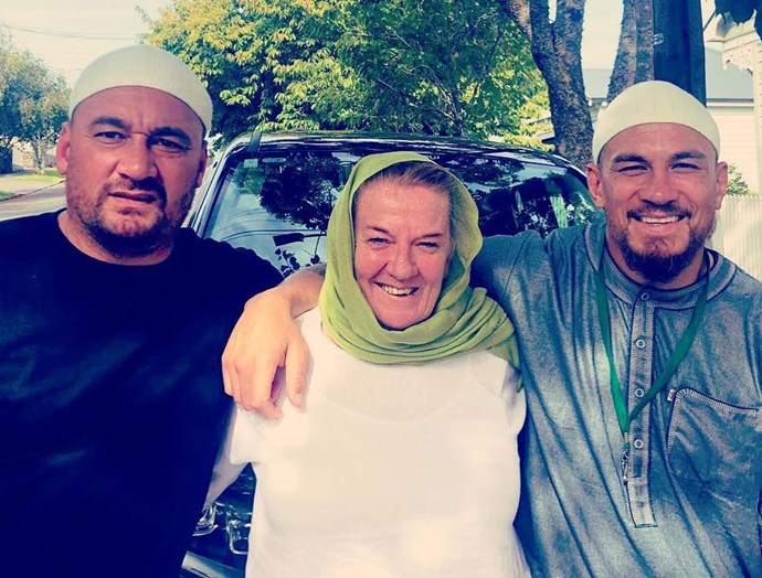 Sonny Bill with his brother, John, and his mother Lee after she converted to Islam. *Source: Instagram/sonnybillwilliams*