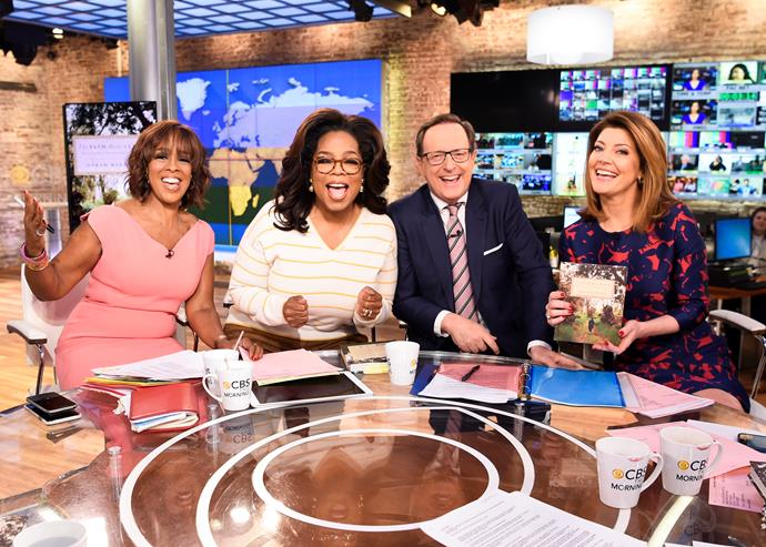 Oprah on *CBS This Morning*. One of the co-hosts, Gayle King (L), also attended Meghan's baby shower in New York. *(Image: Getty)*