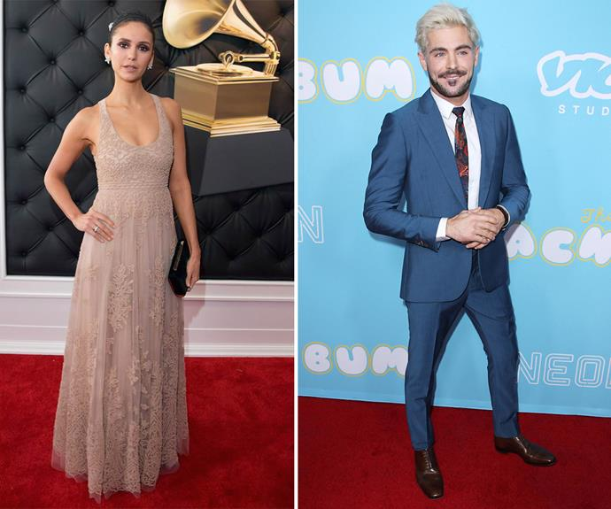 Zac Efron teamed up with former *Vampire Diaries* actress Nina Dobrev for the first episode of his Youtube series 'Gym Time'. *(Images: Getty, Shutterstock)*