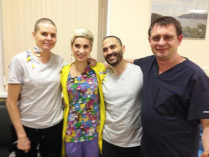 With her Russian medical team, including Dr Fedorenko (right).