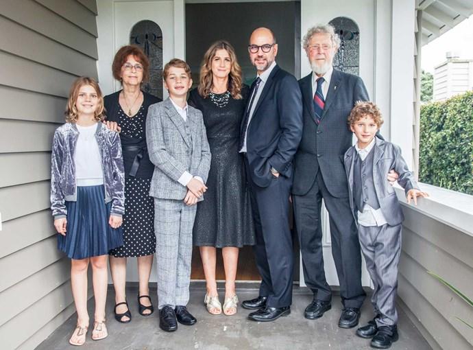 Natalie with, from left, Maya, mum Emily, Elijah, Michael, dad Jim and Leon.