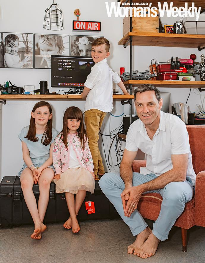 Marley (far left), Perry and Archer regularly help their dad in his home studio.
