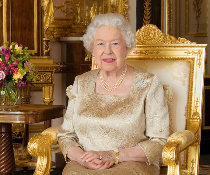 This is an official portrait of the Queen, released in July 2017. She wears the maple leaf brooch inherited from her mother