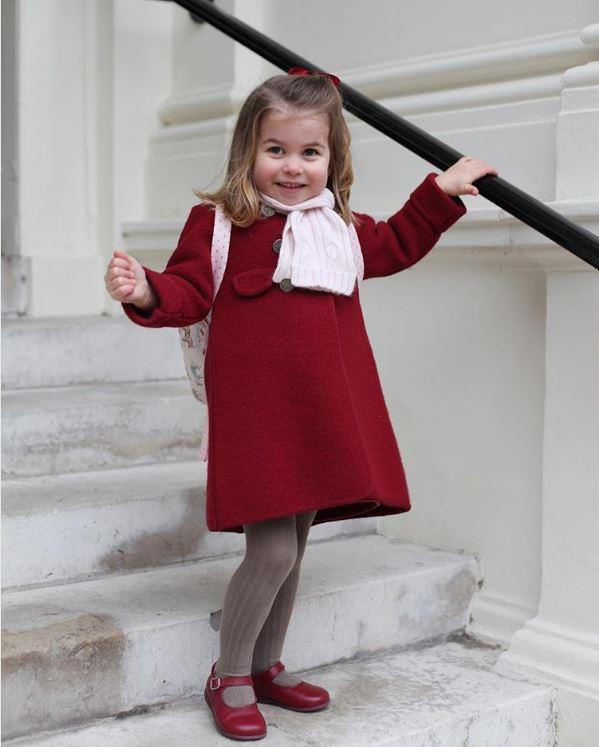The young royal looked very excited to be starting her first day of school at the beginning of 2018. *(Image: Duchess of Cambridge via Getty)*